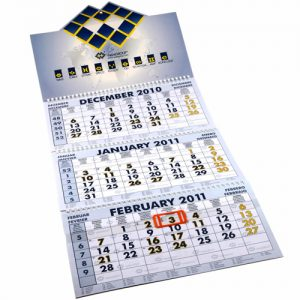 three month calendar printing