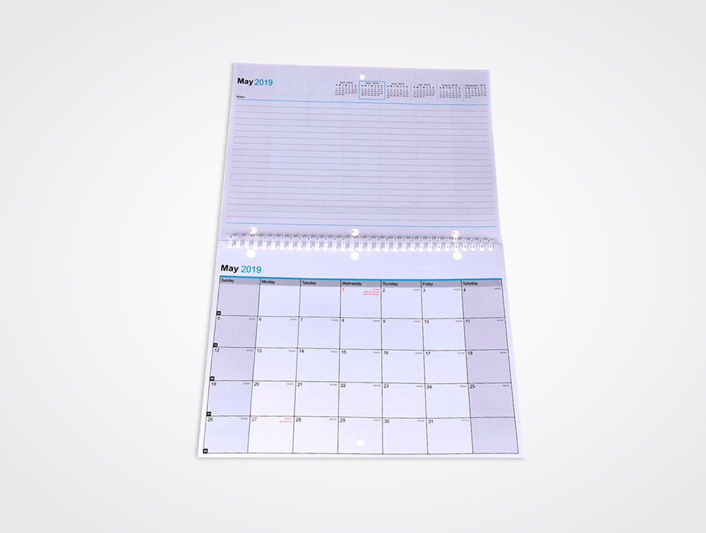 Wire-O bound notebook calendars printing